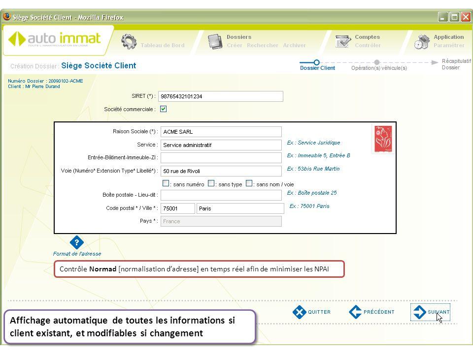 Contrôle Normad [normalisation d'adresse] en temps réel afin de minimiser les NPAI